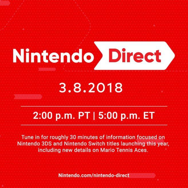 Nintendo Direct anunciada para o dia 8 de março