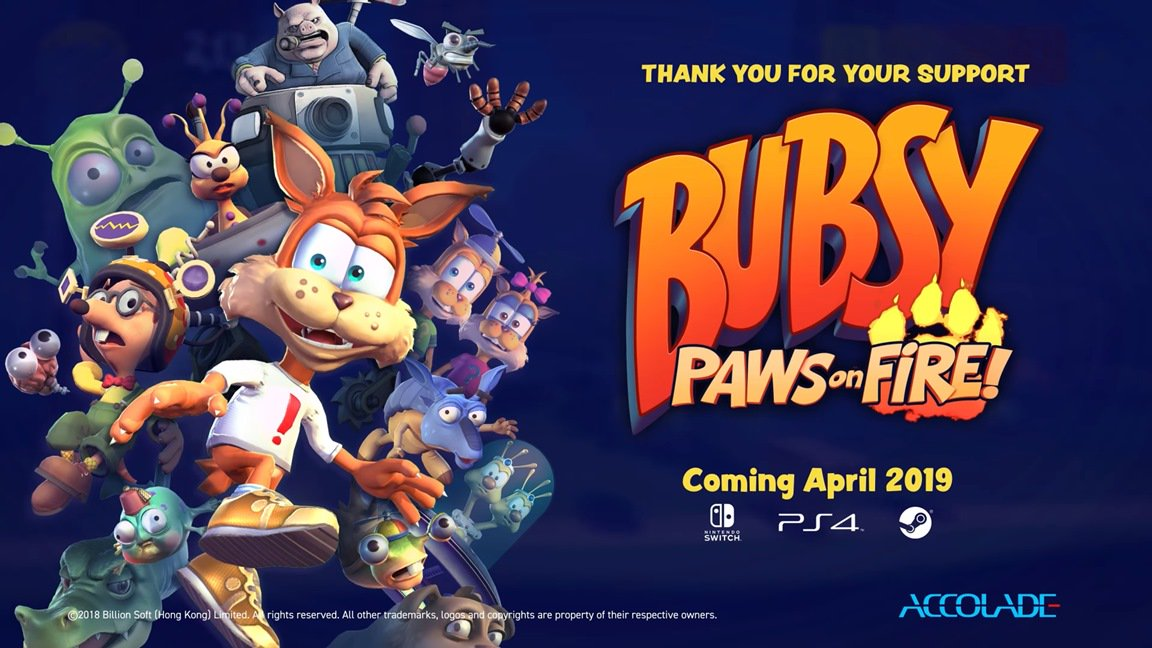 [Switch] Bubsy: Paws on Fire chega durante o mês de abril, campanha no Kickstarter para uma DLC será aberta nesta terça-feira