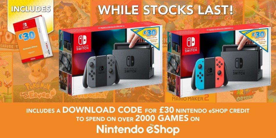 Europa: Nintendo anuncia bundle do Nintendo Switch com créditos na eShop