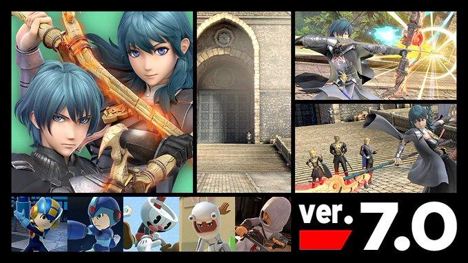 Super Smash Bros. Ultimate – Atualização (ver. 7.0) que adiciona o lutador por DLC Byleth, bem como novos trajes para os Mii Fighters já está disponível