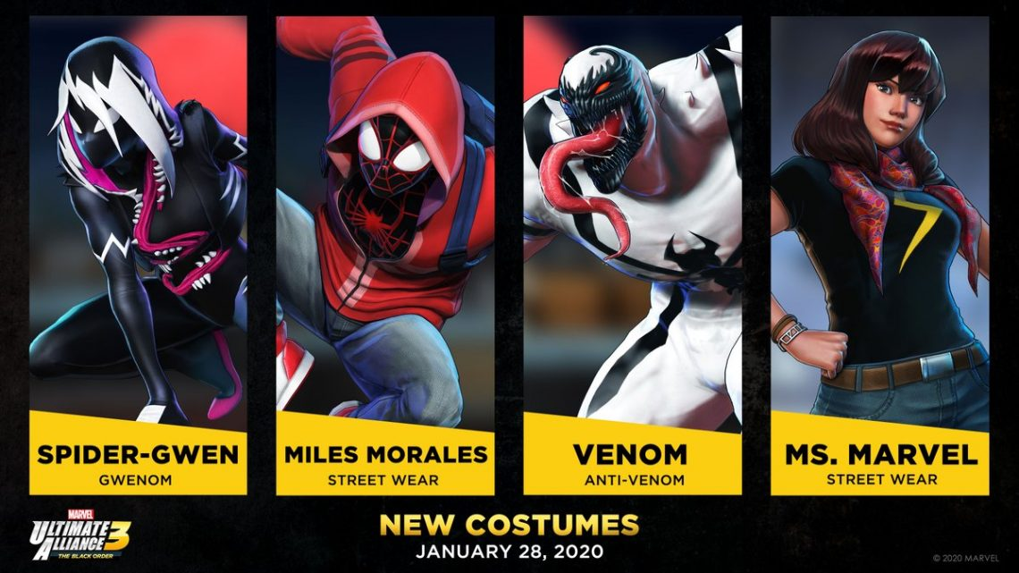 Marvel Ultimate Alliance 3: The Black Order – Novo conjunto de trajes para Spider-Gwen, Venom, Miles Morales e Ms. Marvel foram adicionados ao jogo