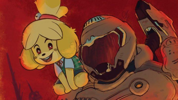 Desenvolvedores de Animal Crossing: New Horizons estão admirados com as fanarts de crossover com DOOM Eternal circulando pela internet