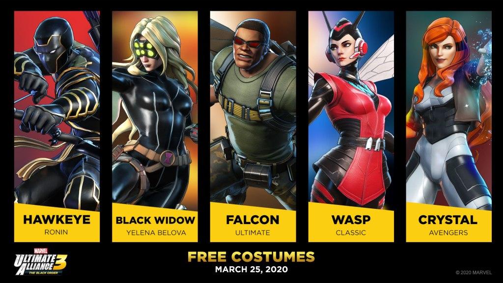 Marvel Ultimate Alliance 3: The Black Order – Revelado novos trajes para Hawkeye, Viúva Negra, Falcão, Vespa e Cristal