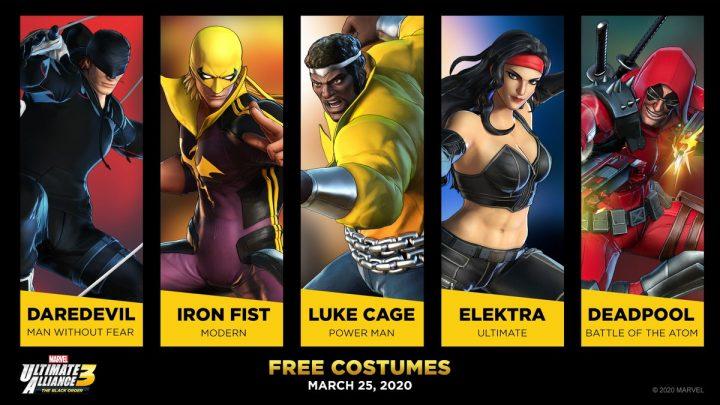 Marvel Ultimate Alliance 3: The Black Order – Novos trajes para o Demolidor, Punho de Ferro, Luke Cage, Elektra e Deadpool chegam na próxima semana