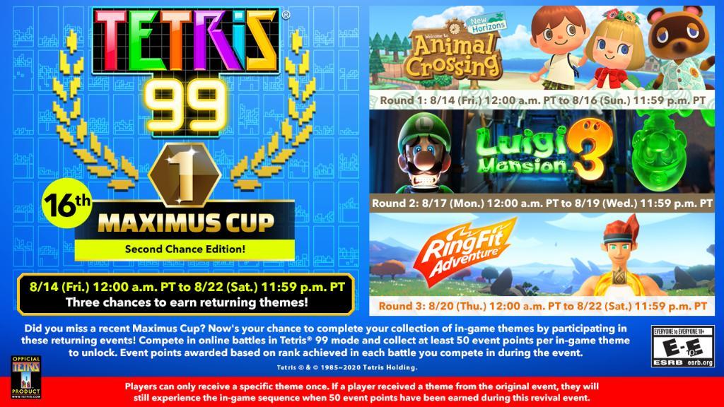 Tetris 99 – 16th Maximus Cup acontecerá na próxima semana, jogadores terão a chance de resgatar temas de eventos passados