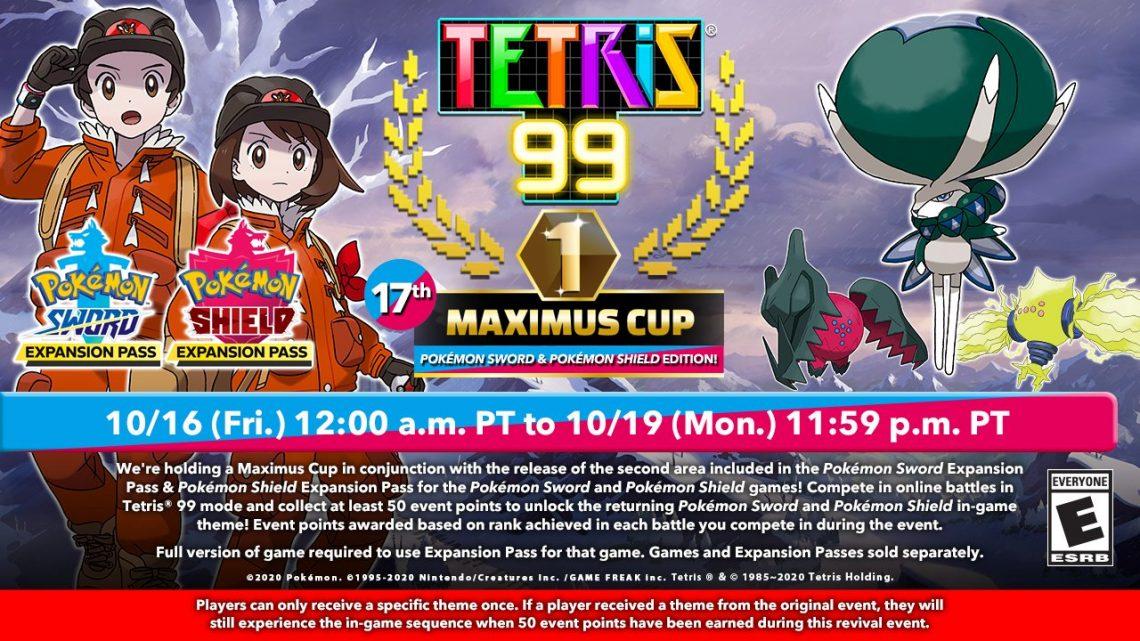 Tetris 99 | 17th Maximus Cup com tema da DLC The Crown Tundra de Pokémon Sword/Shield acontecerá nesta sexta-feira, 16 de outubro