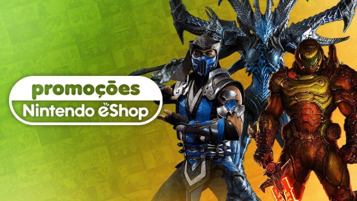 Promoções na eShop Brasil | Ofertas de até 75% de desconto em jogos como DOOM Eternal, Mortal Kombat 11, Burnout Paradise Remastered, Among Us, e mais