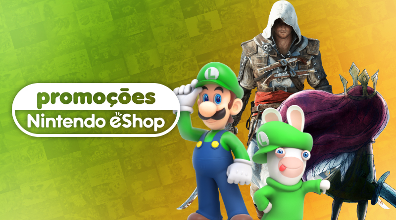 Promoções na eShop Brasil | Ofertas de até 90% de desconto em títulos como Mario + Rabbids Kingdom Battle, Assassin's Creed: The Rebel Collection, jogos da 2K, Capcom, e mais