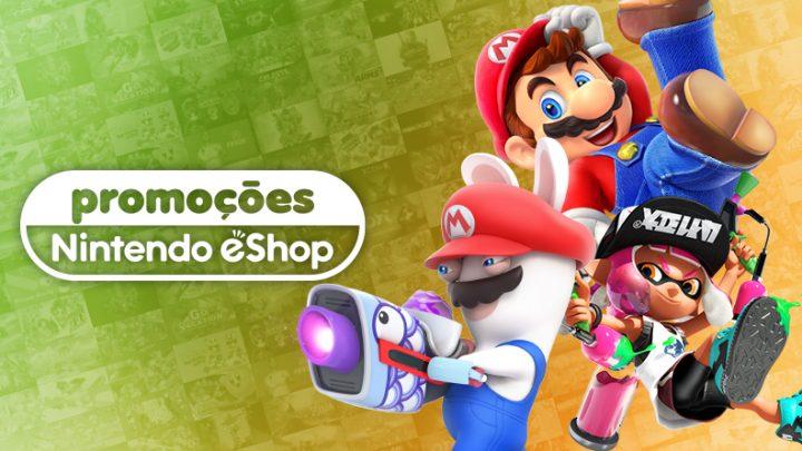 Promoção na eShop Brasil | Ofertas de até 30% de desconto em jogos como Super Mario Party, Mario Tennis Aces, Splatoon 2, e muito mais