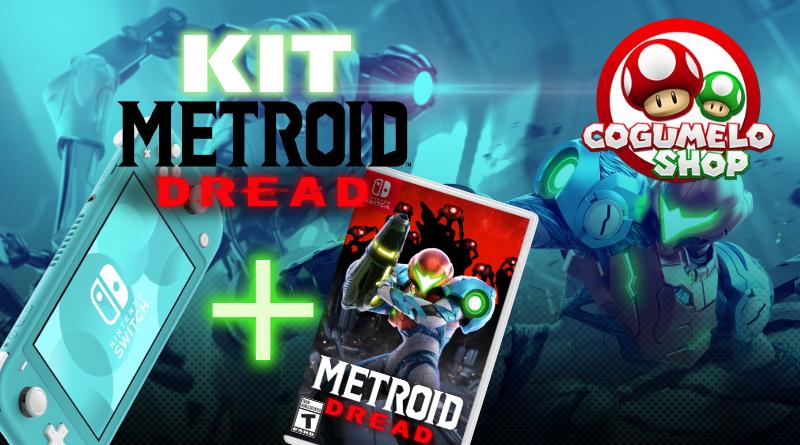 Cogumelo Shop oferece kit do Nintendo Switch Lite Nacional com Metroid Dread mídia física por R$ 1.649,80 à vista